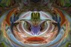 Effets de masques par jeux de symétrie ou autre images colorées numériques et digitales, graphismes et infographie par François-Régis Hoareau